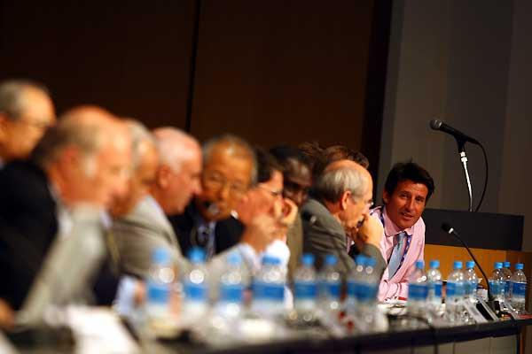 Sebastian Coe (GBR) looks on contentedly after election - IAAF Congress (Getty Images)