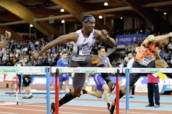 Jarret Eaton in the 60m hurdles at the IAAF World Indoor Tour meeting in Madrid (Jean-Pierre Durand)