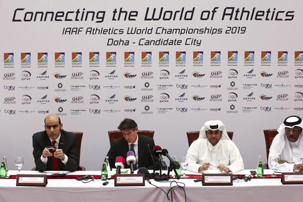 The IAAF Evaluation Commission (EVCOM) press conference in Doha (IAAF)