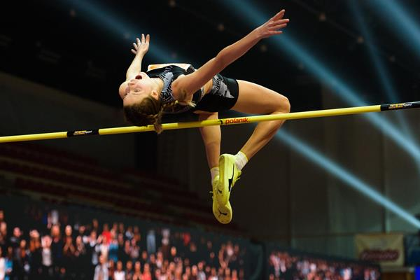 Yaroslava Mahuchikh in action at the World Athletics Indoor Tour meeting in Banska Bystrica (Pavol Uhrin)