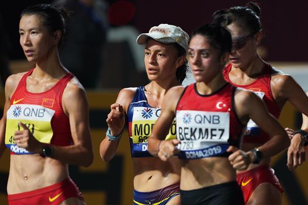 Glenda Morejon in the 20km race walk at the World Athletics Championships Doha 2019 (Matt Quine)