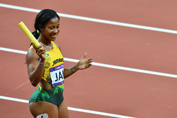 Shelly-Ann Fraser-Pryce in the 4x100m at the London 2012 Olympic Games (AFP / Getty Images)