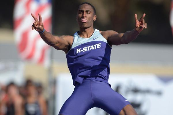 Erik Kynard celebrates his world-leading 2.34m jump at the 2013 Mt SAC Relays (Kirby Lee)
