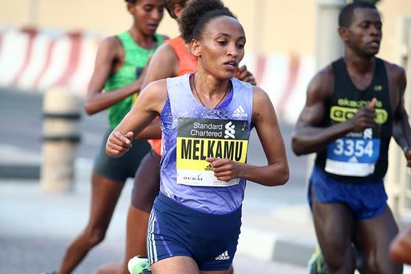 Meselech Melkamu in the 2016 Dubai Marathon (Organisers)