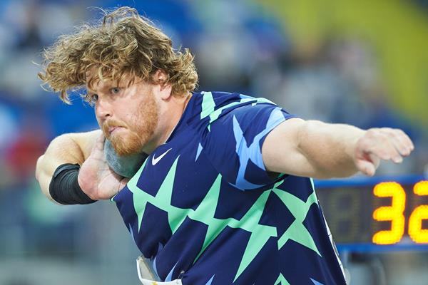 USA's Ryan Crouser in action in the shot put (AFP / Getty Images)