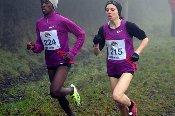 Esther Chemtai (KEN) and winner Charlotte Purdue (GBR) in Antrim (Mark Shearman)