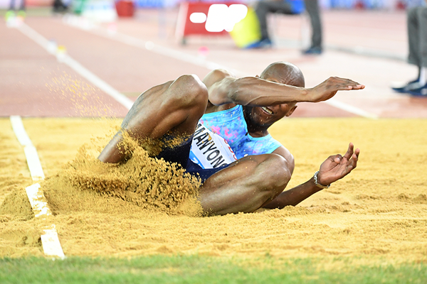 Long jump winner Luvo Manyonga at the IAAF Diamond League final in Zurich (Gladys Chai von der Laage)