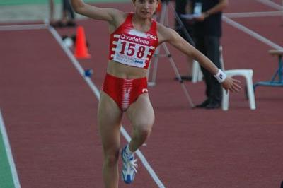 Tatyana Lebedeva in action in Tsiklitiria (IAAF)