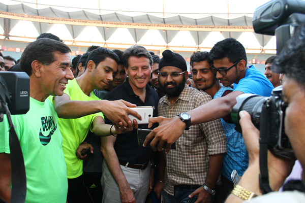 IAAF President Seb Coe at Nehru Stadium in India (AFI)