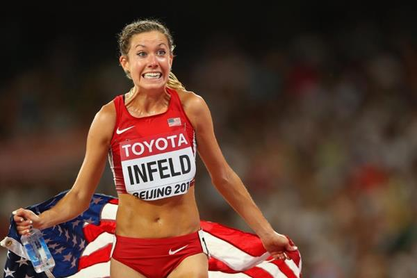 Emily Infeld after taking 10,000m bronze at the IAAF World Championships, Beijing 2015 (Getty Images)