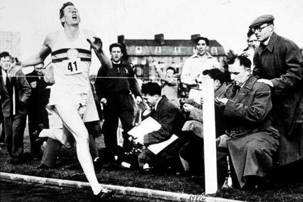Roger Bannister breaks the four minute mile barrier - 6 May 1954 - 3:59.4 (Getty Images)