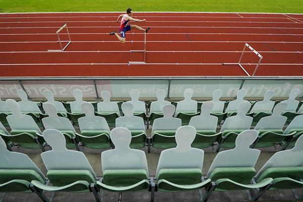 Karsten Warholm in action at Oslo's Impossible Games (AFP / Getty Images)