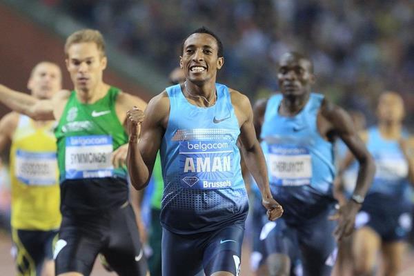 Mohammed Aman winning the 800m at the 2013 IAAF Diamond League final in Brussels (Jean-Pierre Durand / IAAF)