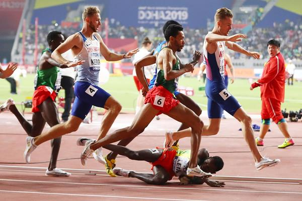 Ouch! Tedesse Lemi tumbles to the track in the opening round of the 1500m at the IAAF World Championships Doha 2019 (Getty Images)