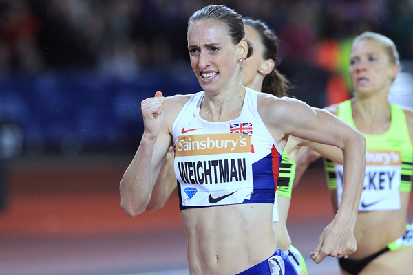 1500m winner Laura Weightman at the IAAF Diamond League meeting in London (Jean-Pierre Durand)