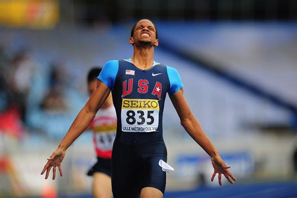 Arman Hall takes the first-ever Boys' World Youth 400m title for the USA (Getty Images)