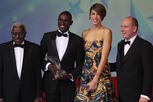 IAAF President Lamine Diack, World athletes of the year David Rudisha and Blanka Vlasic, and HSH Prince Albert of Monaco (Getty Images)