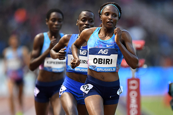 Hellen Obiri on her way to winning the 5000m at the IAAF Diamond League final in Brussels (Gladys Chai von der Laage)