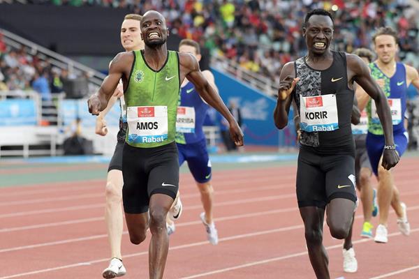 Nijel Amos on his way to winning the 800m at the IAAF Diamond League meeting in Rabat (Kirby Lee)