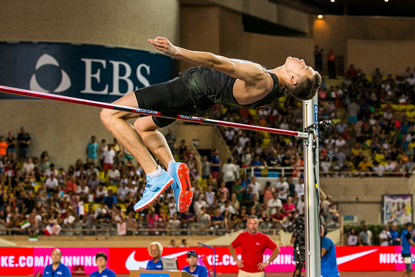 Danil Lysenko in the high jump at the IAAF Diamond League meeting in Monaco (Philippe Fitte)