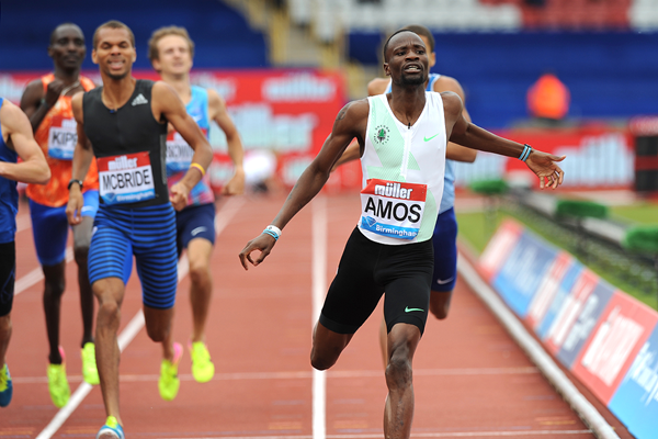 Nijel Amos wins the 800m at the IAAF Diamond League meeting in Birmingham (Mark Shearman)