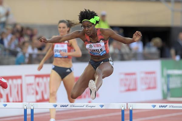 Shamier Little en route to her 400m hurdles win in Lausanne (Gladys Chai von der Laage)