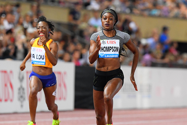 Elaine Thompson winning the 100m at the 2016 IAAF Diamond League meeting in Lausanne (Gladys von der Laage)
