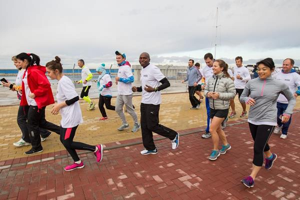 .IAAF ABW sponsored Morning Run in Sochi on 22 April 2015, led by IAAF Ambassador Wilson Kipketer (Getty Images)