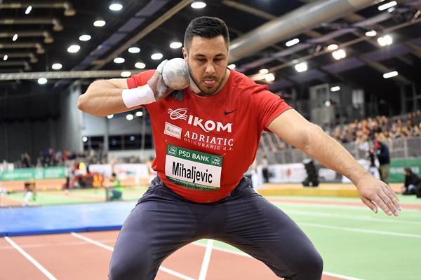 Filip Mihaljevic, winner of the shot put at the World Athletics Indoor Tour meeting in Dusseldorf (Gladys Chai von der Laage)