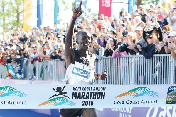 Kenneth Mungara takes victory at the 2016 Gold Coast Airport Marathon (Organisers)