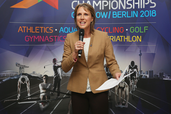 Katharine Merry talks to the media (Getty Images)