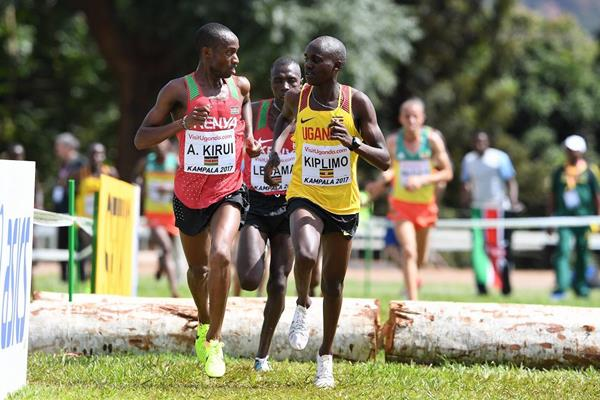 Amos Kirui and Jacob Kiplimo in the U20 men's race at the IAAF World Cross Country Championships Kampala 2017 (Jiro Mochizuki)