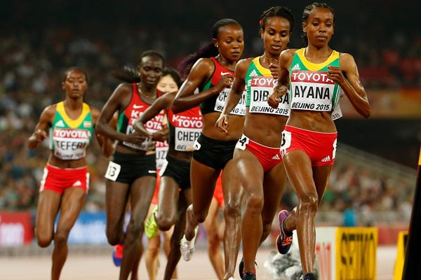 Almaz Ayana leads the 5000m at the IAAF World Championships, Beijing 2015 (Getty Images)