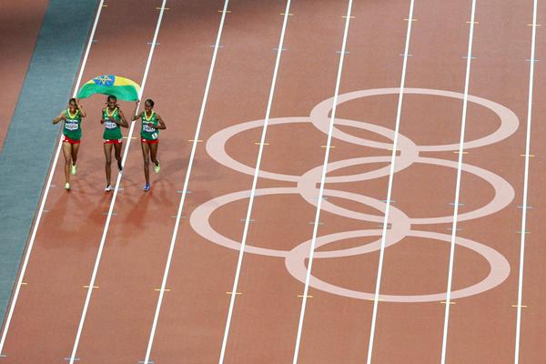 Sofia Assefa, Hiwot Ayalew and Etenesh Diro after the 3000m Steeplechase final at the 2012 Olympics (Getty Images)