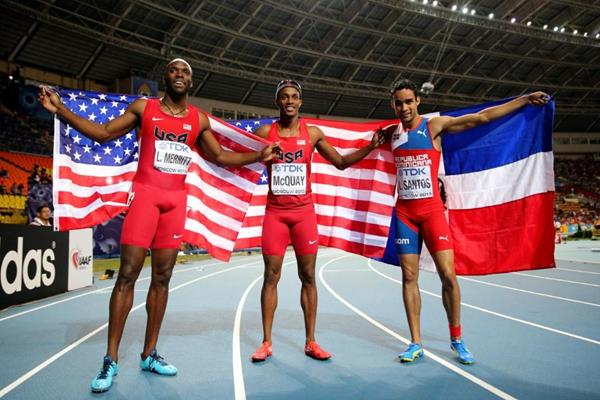LaShawn Merritt, Tony McQuay and Luguelin Santos in the mens 400m Final at the IAAF World Athletics Championships Moscow 2013 (Getty Images)