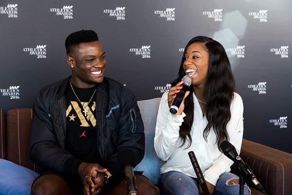 Omar McLeod and Kendra Harrison speak to the press ahead of the IAAF Athletics Awards 2016 (Philippe Fitte / IAAF)