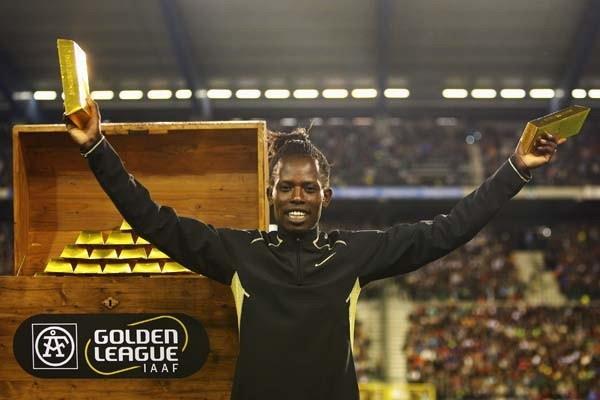 Pamela Jelimo of Kenya celebrates after winning the Golden League $1 Million Jackpot (Getty Images)