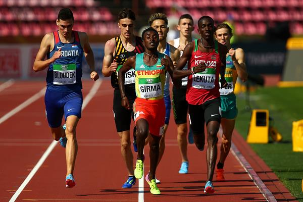 Solomon Lekuta of Kenya and Adisu Grima of Ethiopia in the opening round of the 800m at the IAAF World U20 Championships Tampere 2018 (Getty Images)