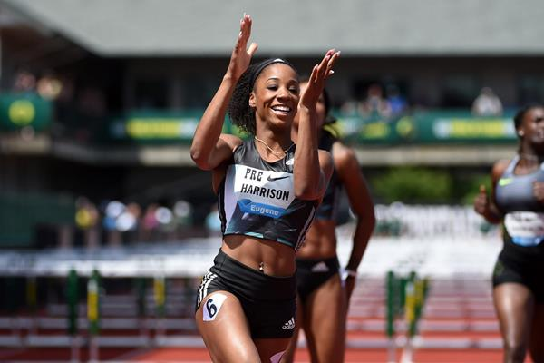 Kendra Harrison after winning the 100m hurdles at the 2016 IAAF Diamond League meeting in Eugene (Kirby Lee)