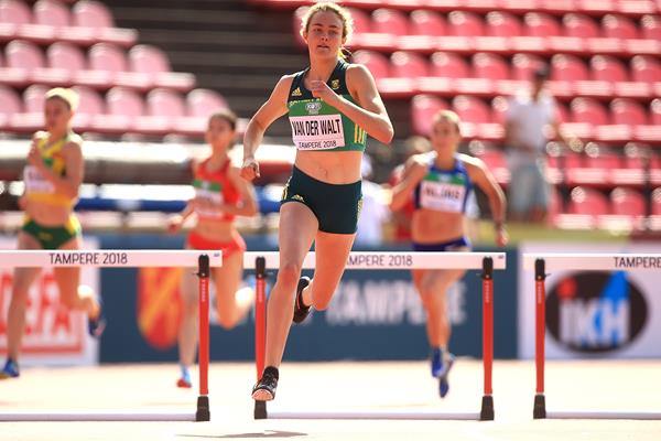 South African Zeney van der Walt in the heats of the 400m hurdles at the IAAF World U20 Championships Tampere 2018 (Getty Images)