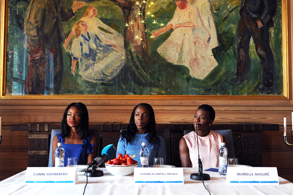 Ezinne Okparaebo, Veronica Campbell-Brown and Murielle Ahoure at the press conference for the IAAF Diamond League meeting in Oslo (Mark Shearman)