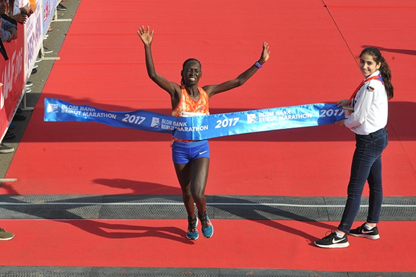 Eunice Chumba wins the Beirut Marathon (Organisers)