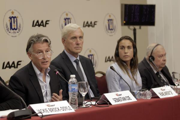 IAAF President Sebastian Coe, Rune Andersen, Belen Casetta and Roberto Gesta de Melo at the IAAF Council Meeting press briefing in Buenos Aires (Getty Images)