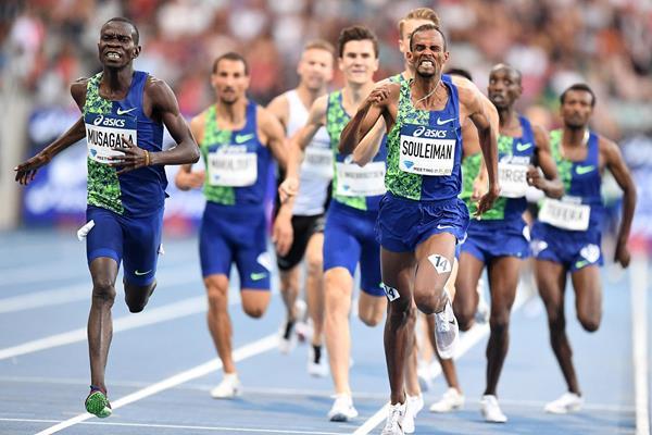 Ronald Musagala (far left) wins the 1500m at the IAAF Diamond League meeting in Paris (Gladys Chai von der Laage)