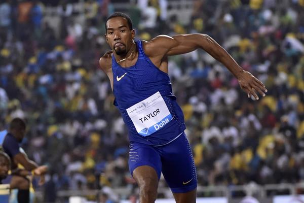 Christian Taylor at the 2016 IAAF Diamond League meeting in Doha (Hasse Sjogren)