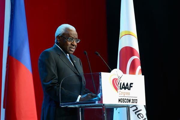 Lamine Diack at the IAAF Congress Opening Dinner in Moscow (Getty Images)