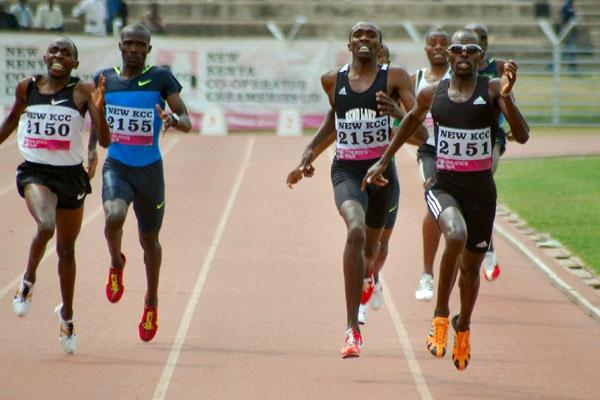 Wilfred Bungei (right, 2151) edges Wilfred Kirwa (left, 2150) in the 800m at the Kenyan Olympic trials in Nairobi (Ricky Simms)