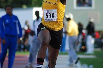 Jamaica's Kimberly Williams won the girls' U-20 Triple Jump in Carifta (Anthony Foster)