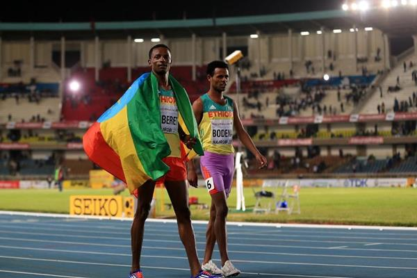 Melese Nberet and Tolesa Bodena after taking gold and silver in the boys' 800m at the IAAF World U18 Championships Nairobi 2017 (Getty Images)