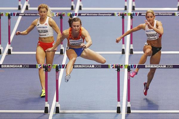Nadine Visser in the 60m hurdles at the IAAF World Indoor Championships Birmingham 2018 (AFP / Getty Images)